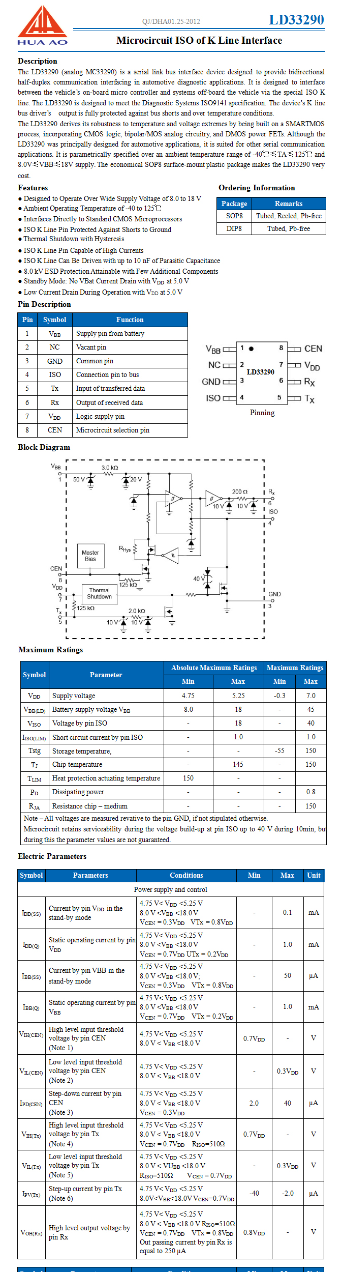 LD33290 Microcircuit ISO of K Line Interface ASIC - 丹东华奥
